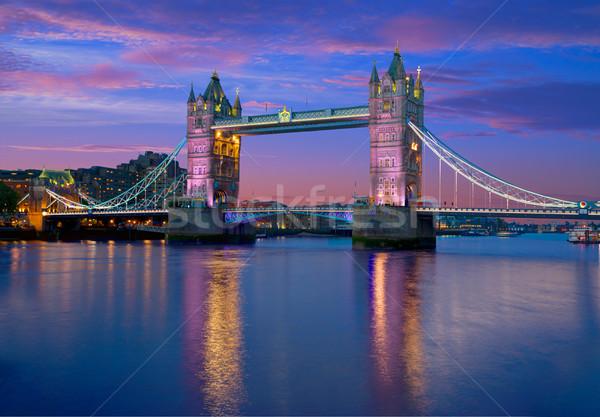 Londres Tower Bridge coucher du soleil thames rivière Angleterre Photo stock © lunamarina