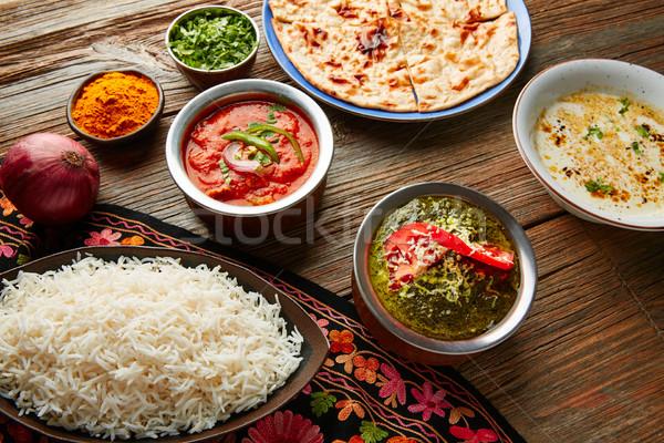 Palak Panner and Chicken Tikka Masala indian Stock photo © lunamarina