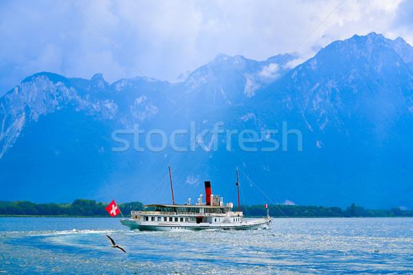 湖 蒸し器 船 スイス 日没 ストックフォト © lunamarina