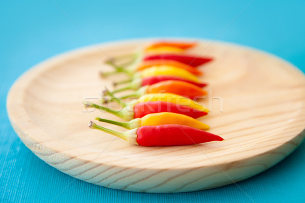 colorful hot chili peppers in a row on plate Stock photo © lunamarina