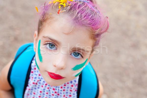 Сток-фото: детей · девушки · лице · макияж · окрашенный