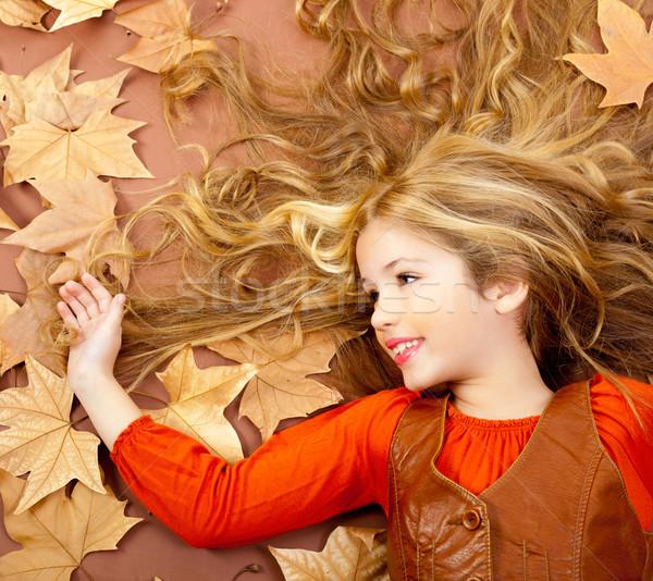 Photo stock: Automne · automne · peu · blond · fille · séché