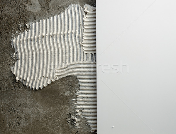 construction notched trowel mortar and tiles Stock photo © lunamarina