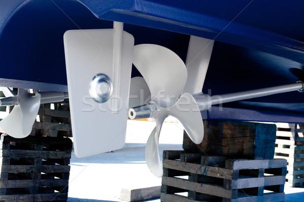 グレー 描いた プロペラ 亜鉛 青 水 ストックフォト © lunamarina