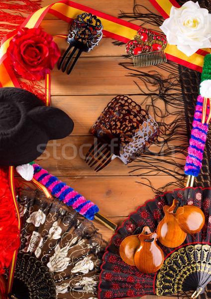 Torreádor flamenco tipikus Spanyolország kalap fésű Stock fotó © lunamarina