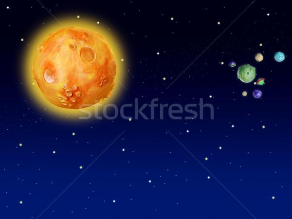 Espacio planetas fantasía hecho a mano universo colorido Foto stock © lunamarina