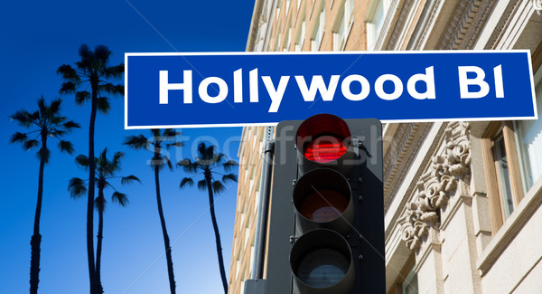 Hollywood signe illustration palmiers affaires arbres Photo stock © lunamarina