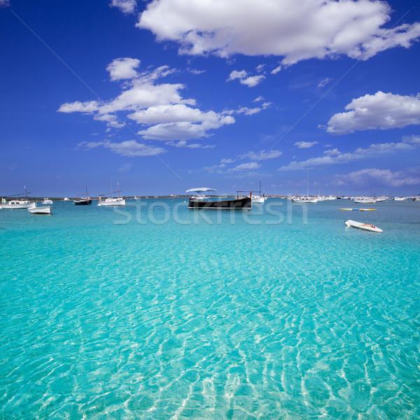 Stock photo: Formentera boats at Estany des Peix lake