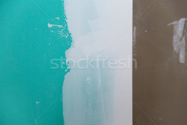 drywall hydrophobic plasterboard in green plaster seam Stock photo © lunamarina