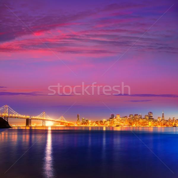 San Francisco pôr do sol linha do horizonte Califórnia água reflexão Foto stock © lunamarina