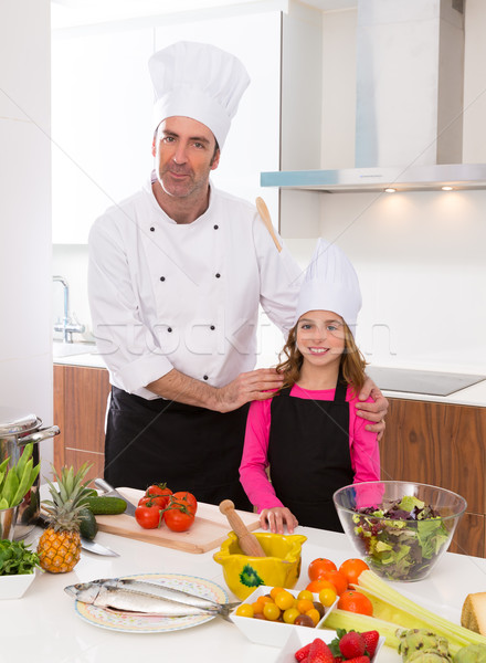 Chef master and junior pupil kid girl at cooking school Stock photo © lunamarina