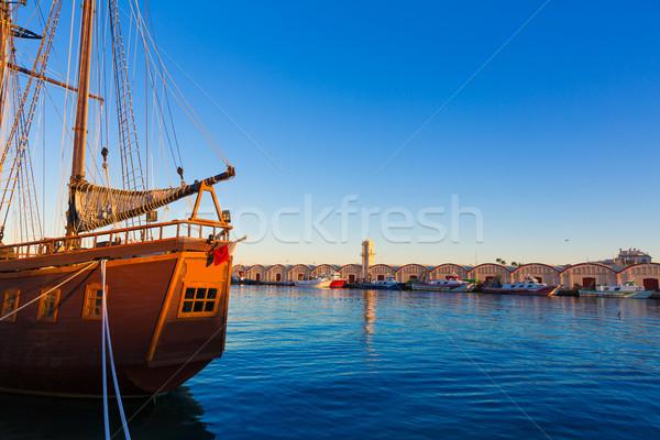 порта Валенсия Средиземное море Испания закат пляж Сток-фото © lunamarina