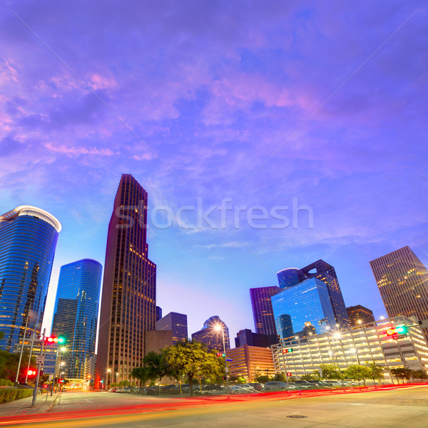 Stockfoto: Houston · centrum · skyline · zonsondergang · Texas · zuiden