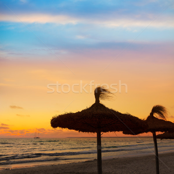 Stock photo: Majorca Sunset in Es Trenc beach in Campos