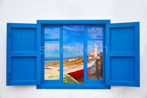 Almeria window of Cabo de Gata Salinas church Stock photo © lunamarina