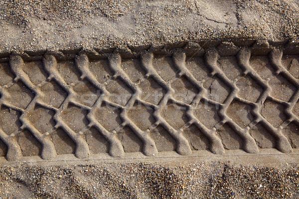 Carro roda imprimir pegada areia da praia pneus Foto stock © lunamarina