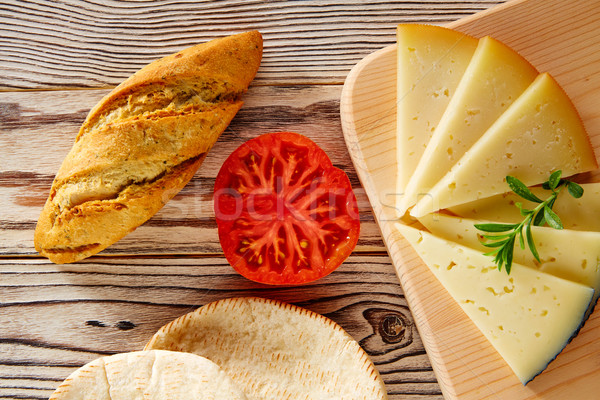 Mediterranean food bread loaf tomato and cheese Stock photo © lunamarina