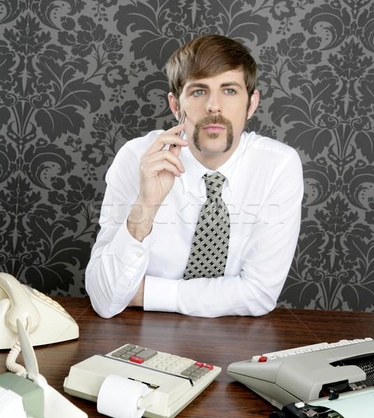 Сток-фото: ретро · усы · бизнесмен · бизнеса