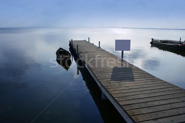 Albufera lake wetlands pier in Valencia Spain Stock photo © lunamarina