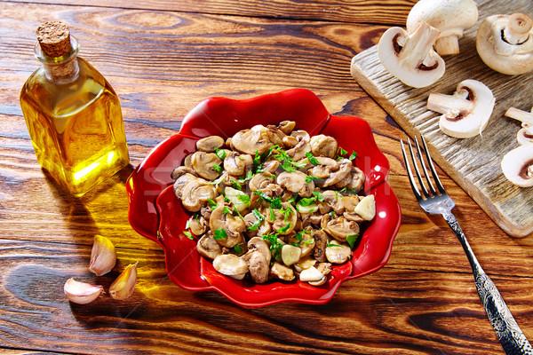 Tapas Espanha alho cogumelos batatas salsicha Foto stock © lunamarina
