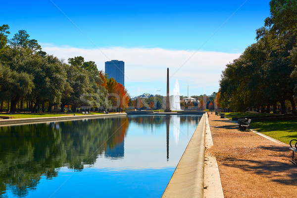 Houston park pionier reflectie zwembad natuur Stockfoto © lunamarina
