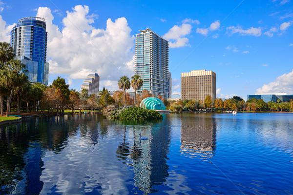 Stock fotó: Orlando · sziluett · tó · Florida · USA · pálmafák