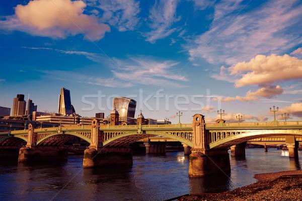 London híd Temze folyó város naplemente Stock fotó © lunamarina