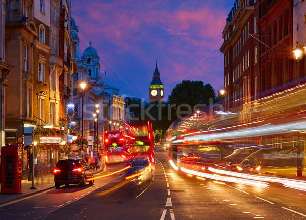 ロンドン ビッグベン 広場 トラフィック 信号 日没 ストックフォト © lunamarina