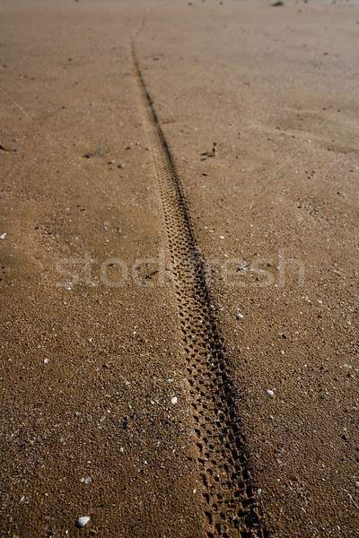 Stock photo: tire tyre tread print on beach sand