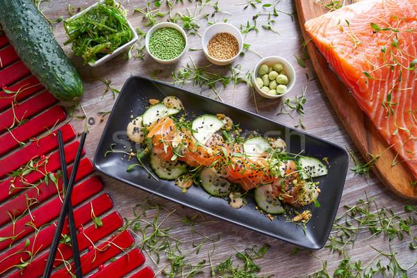 Somon salata wasabi susam gıda arka plan Stok fotoğraf © lunamarina