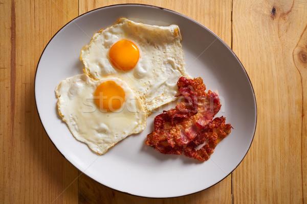 Frühstück Speck Eier einfach Restaurant Stock foto © lunamarina