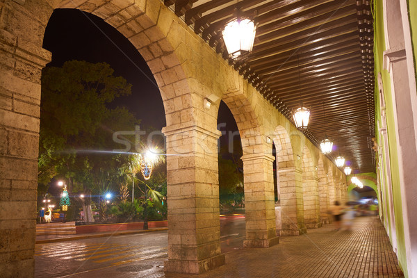 Merida city arcade arcs of Yucatan Mexico Stock photo © lunamarina