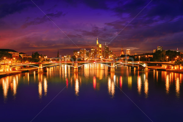 Frankfurt skyline at sunset in Germany Stock photo © lunamarina