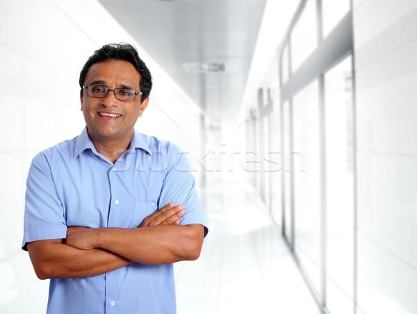 Indian imprenditore occhiali blu shirt ufficio Foto d'archivio © lunamarina