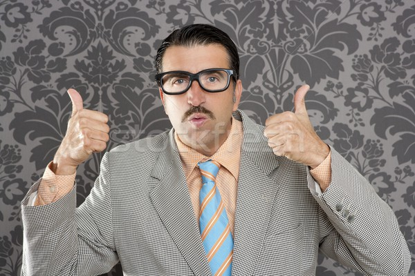nerd retro man businessman ok positive hand gesture Stock photo © lunamarina
