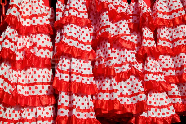 gipsy dress red spots pattern texture andalusian Stock photo © lunamarina