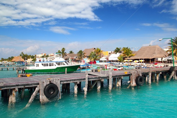 Isla Mujeres island dock port pier colorful Mexico Stock photo © lunamarina