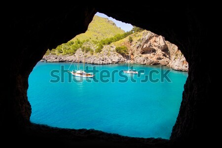 Escorca Sa Calobra view from a cave in Mallorca Stock photo © lunamarina
