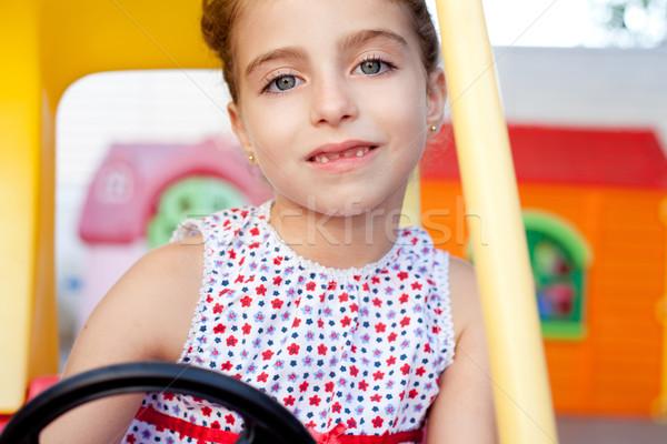 Photo stock: Enfants · fille · conduite · jouet · voiture · aire · de · jeux