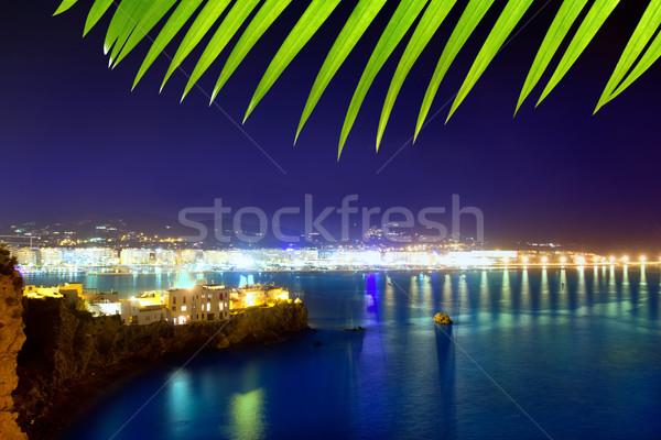 Ibiza town port blue sea night lights Stock photo © lunamarina