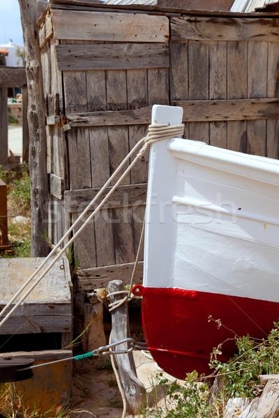 Mediterranean wood boat painted bow detail Stock photo © lunamarina