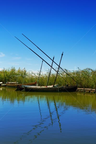 Photo stock: Canal · bateaux · Valence · Espagne · eau · bois