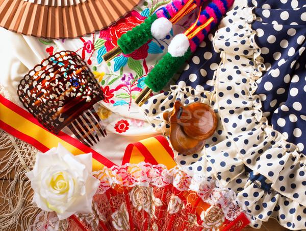 Espana typical from Spain with castanets rose flamenco fan Stock photo © lunamarina