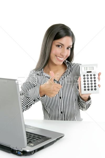 Calculator zakenvrouw gelukkig goede resultaten Stockfoto © lunamarina