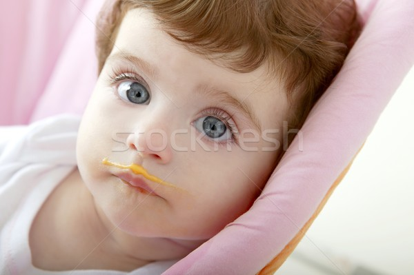 baby deity mouth of eating porridge Stock photo © lunamarina