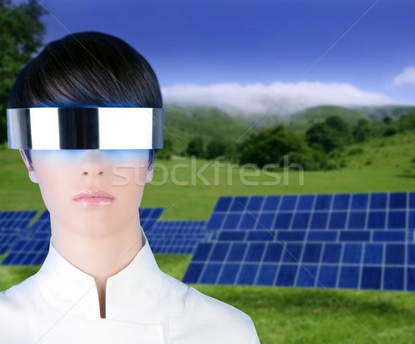 Сток-фото: серебро · футуристический · очки · солнечной · пластин