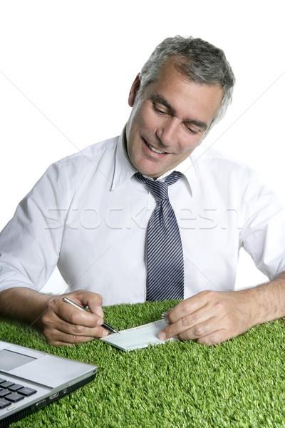senior businessman sign check green grass Stock photo © lunamarina