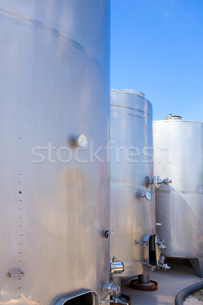 Stock photo: Fermentation tanks vessels in stainless steel