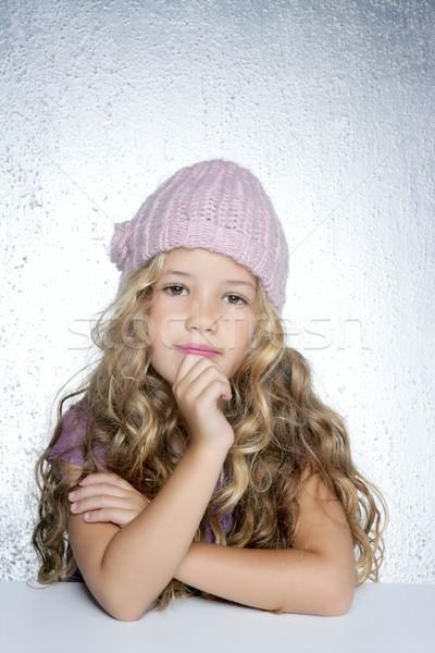 Сток-фото: мышления · жест · девочку · зима · розовый · Cap