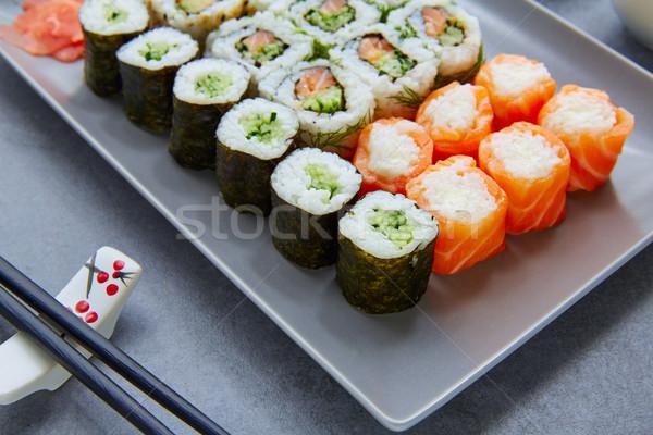 Sushi maki California rotolare alimentare ristorante Foto d'archivio © lunamarina
